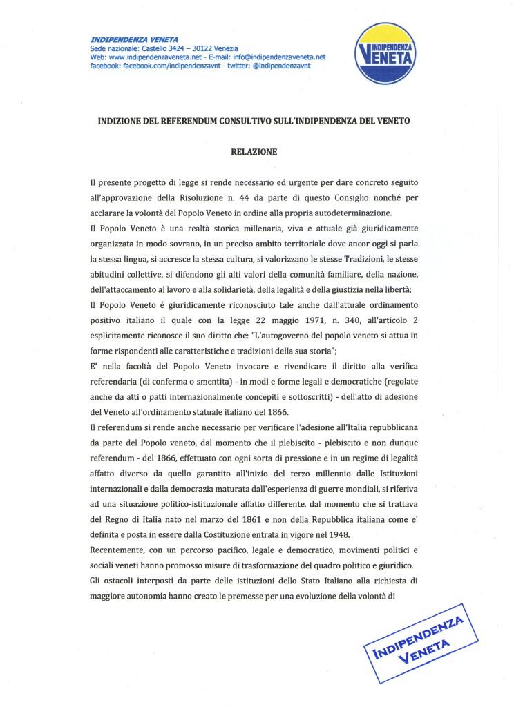 indizione del referendum sull indipendenza del Veneto001